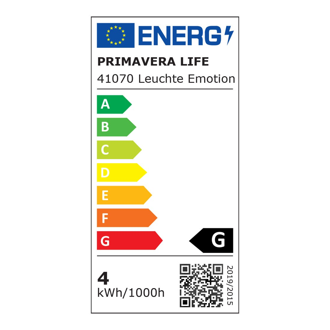 Energielabel Aroma Leuchte Emotion